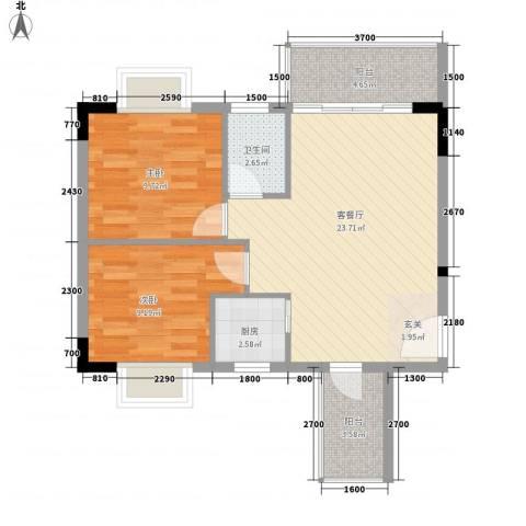 至尊豪苑2室1厅1卫1厨56.08㎡户型图