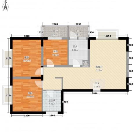 博雅米兰假日3室1厅1卫1厨112.00㎡户型图