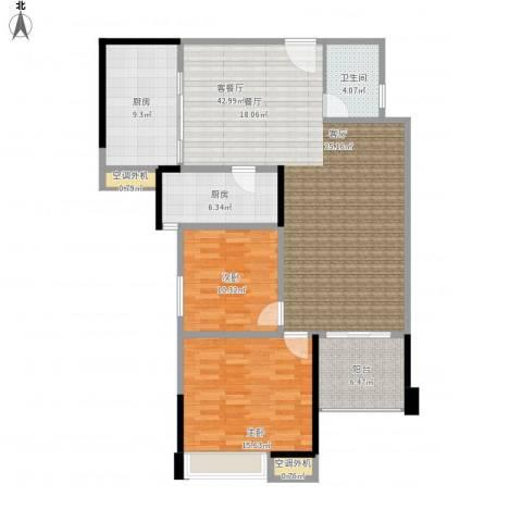 新乡星海传说2室1厅1卫2厨135.00㎡户型图
