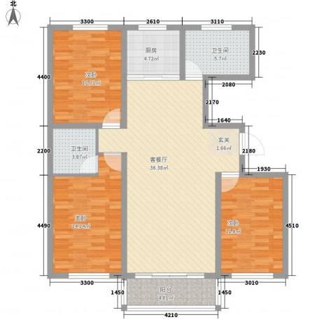 龙源三期3室1厅2卫1厨134.00㎡户型图