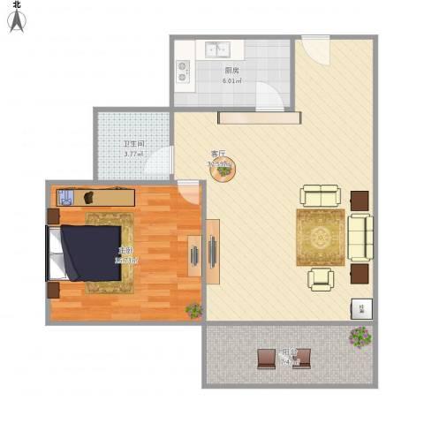 绿地观邸1室1厅1卫1厨88.00㎡户型图