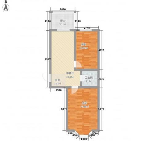 亿兴润景2室1厅1卫1厨79.00㎡户型图