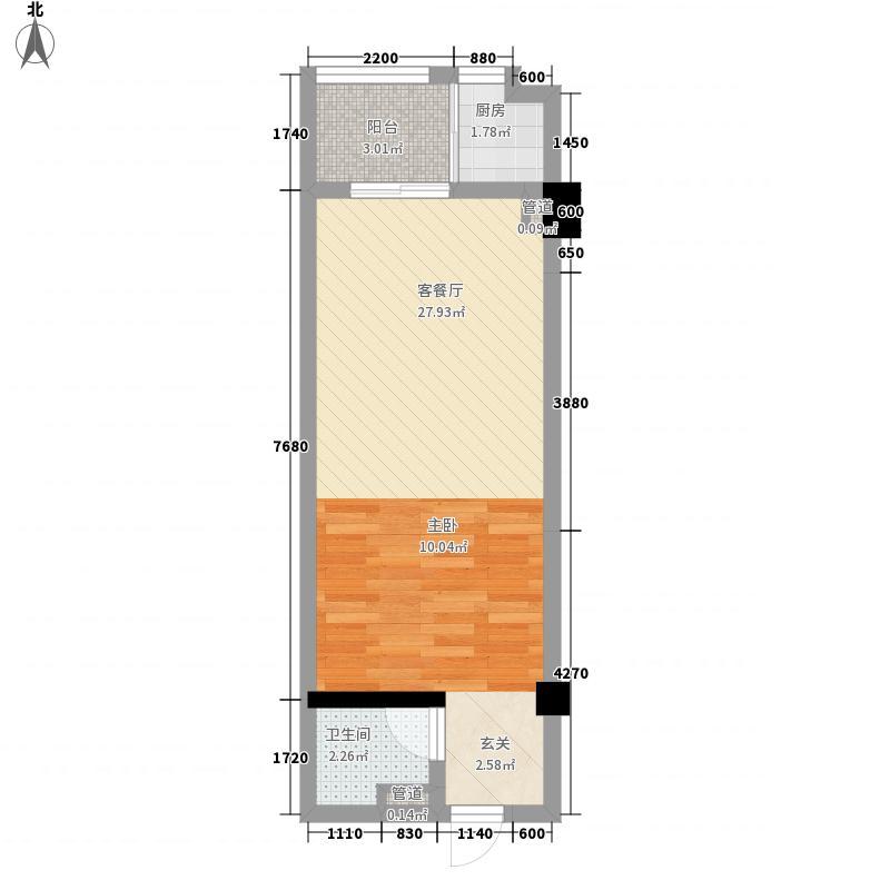 银座金尊54.86㎡B户型1室1厅1卫1厨