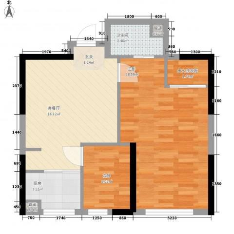 罗蒙环球城2室1厅1卫1厨67.00㎡户型图