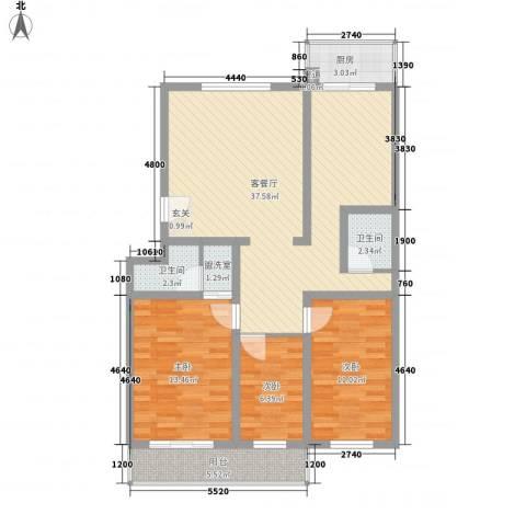 丰硕苑3室2厅2卫1厨121.00㎡户型图