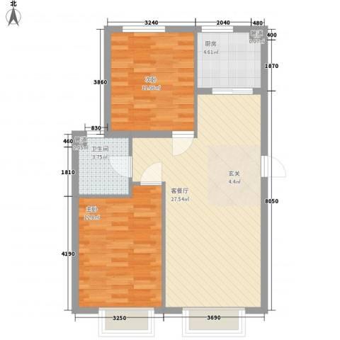 金穗花园2室1厅1卫1厨84.00㎡户型图