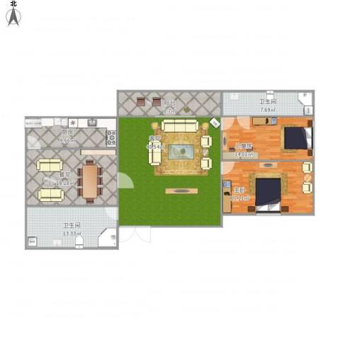 永康城市花园2室2厅2卫1厨172.00㎡户型图