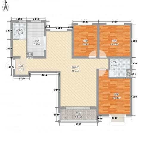 卓达星辰银座3室1厅2卫1厨138.00㎡户型图