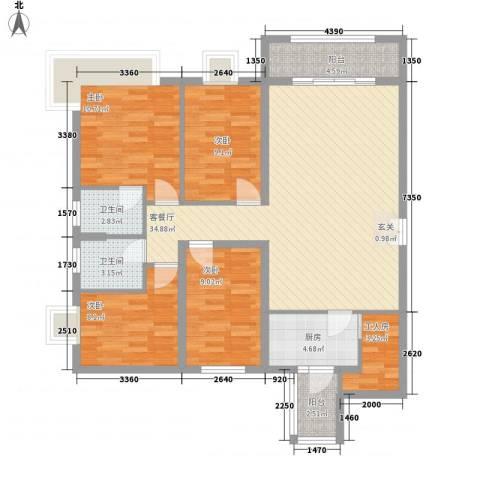 聚和广场4室1厅2卫1厨133.00㎡户型图