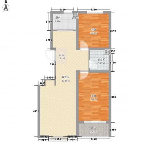 阳光华庭2室1厅1卫1厨92.00㎡户型图