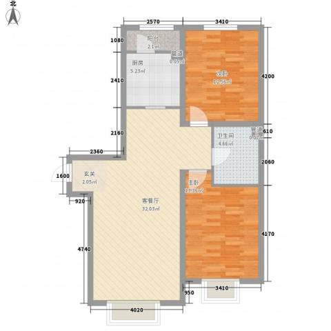 兴港府督花苑2室1厅1卫1厨99.00㎡户型图