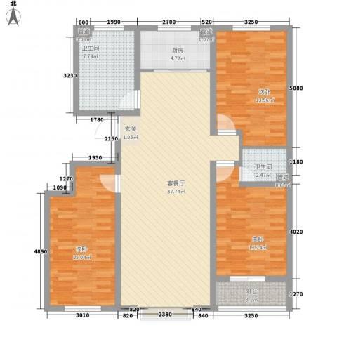 阳光华庭3室1厅2卫1厨138.00㎡户型图