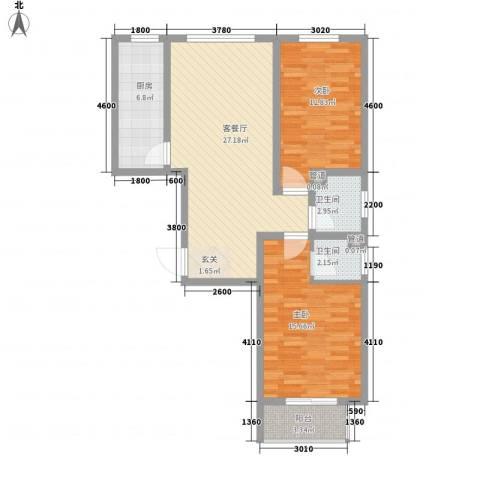 居美颐园2室1厅2卫1厨100.00㎡户型图