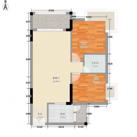 东城畔山2室1厅1卫1厨75.00㎡户型图