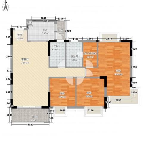 东城畔山3室1厅2卫1厨121.00㎡户型图