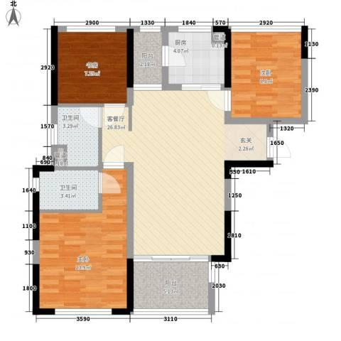 万科金域华府二期3室1厅2卫1厨87.25㎡户型图