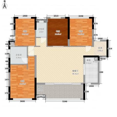 万科金域华府二期4室1厅2卫1厨129.81㎡户型图