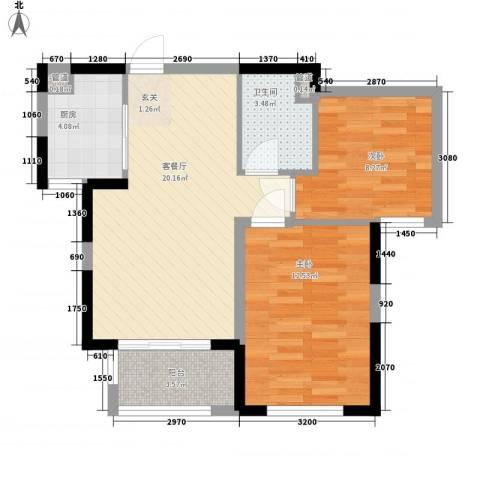 万科金域华府二期2室1厅1卫1厨60.29㎡户型图