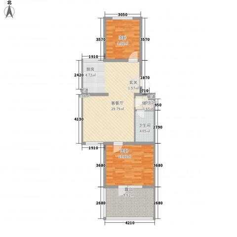 月桂庄园别墅2室1厅1卫0厨88.00㎡户型图
