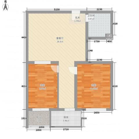 蓝色晶阁2室1厅1卫1厨82.00㎡户型图