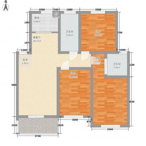 香泉岭花苑3室1厅2卫1厨123.00㎡户型图