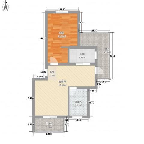 乐城1室1厅1卫1厨67.00㎡户型图