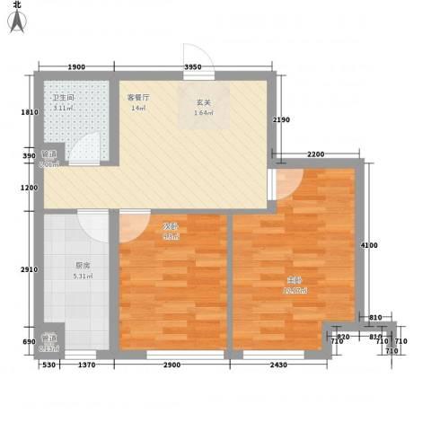 南奥国际2室1厅1卫1厨64.00㎡户型图