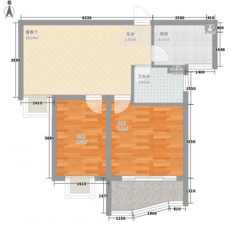 富康新村2室1厅1卫1厨76.00㎡户型图