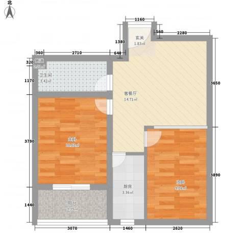 怡祥苑2室1厅1卫1厨64.00㎡户型图