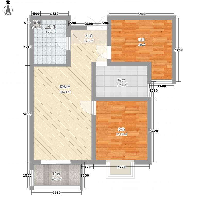 盛通国际83.55㎡小区B4户型2室2厅1卫1厨