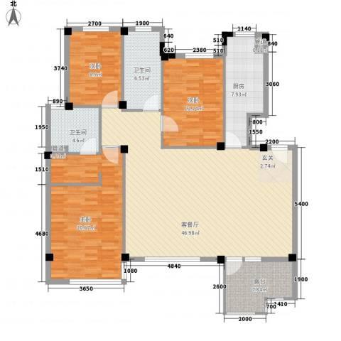 天一名筑二期3室1厅2卫1厨159.00㎡户型图