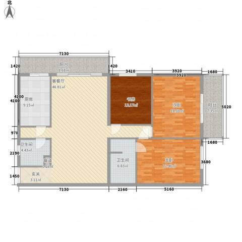 锦绣园3室1厅2卫1厨182.00㎡户型图