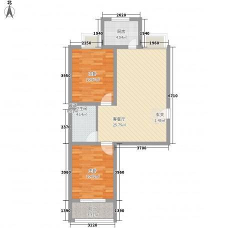 怡祥苑2室1厅1卫1厨84.00㎡户型图