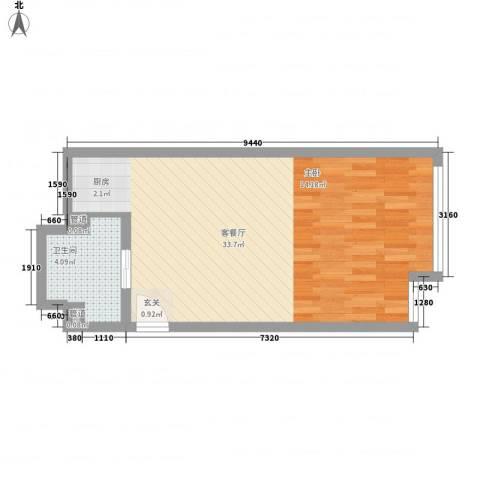 凯铂精品酒店1厅1卫0厨42.40㎡户型图