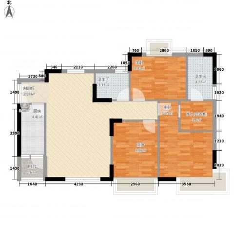 煤机厂宿舍3室1厅2卫1厨111.00㎡户型图