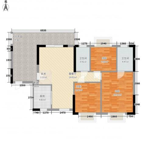 澳景湾3室1厅2卫1厨89.39㎡户型图
