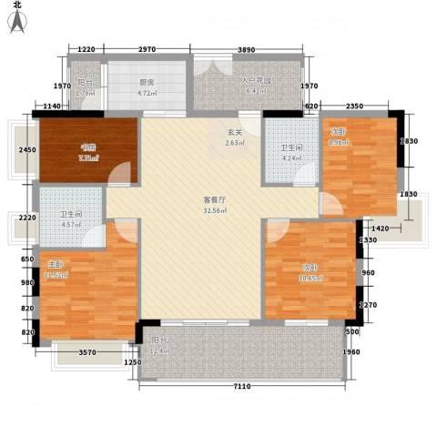 越秀・可逸隽轩4室1厅2卫1厨148.00㎡户型图
