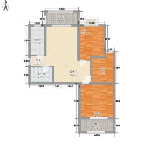 汇腾福锦苑3室1厅1卫1厨112.00㎡户型图