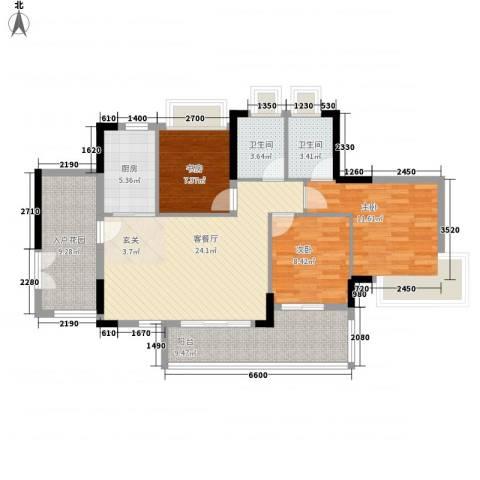 越秀・可逸隽轩3室1厅2卫1厨118.00㎡户型图