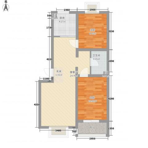 东江园2室1厅1卫1厨80.00㎡户型图