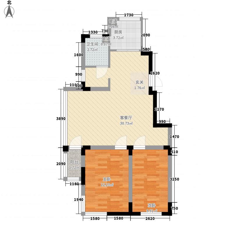 天富北苑87.80㎡D户型2室2厅1卫