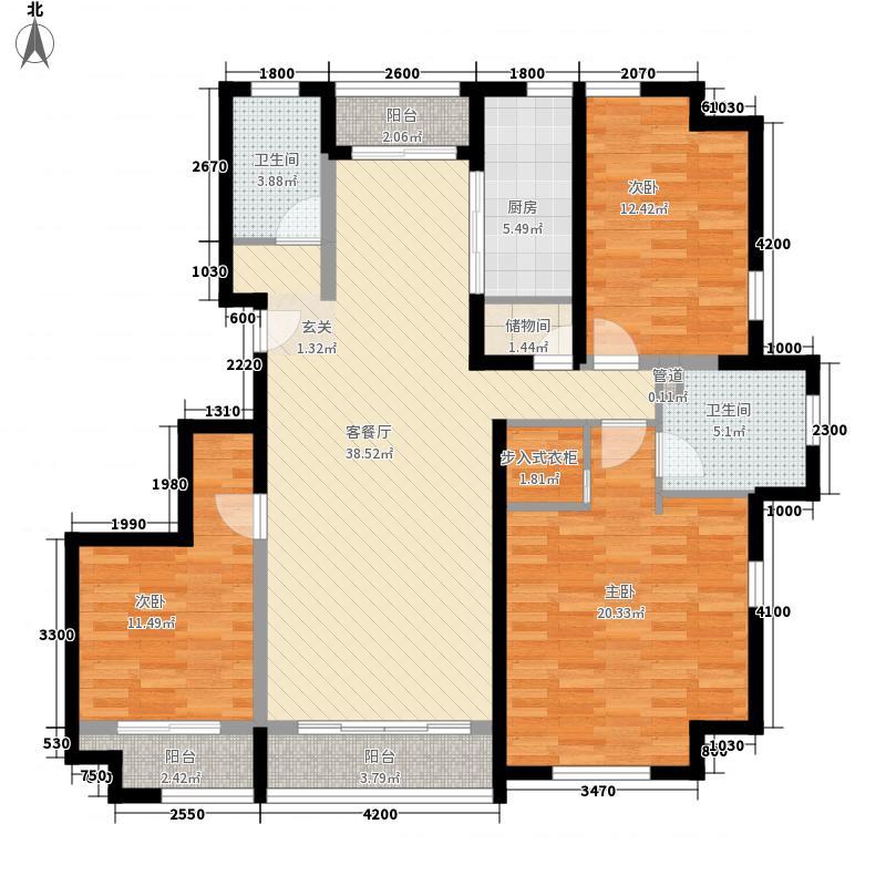 香邑暖山152.20㎡户型3室2厅2卫1厨