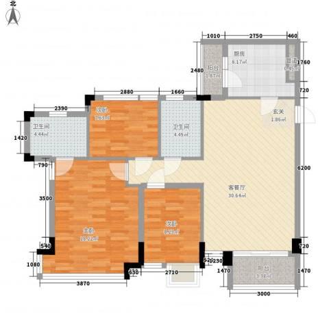 帝雍园3室1厅2卫1厨121.00㎡户型图