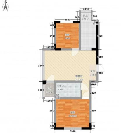 天富北苑2室1厅1卫1厨62.00㎡户型图