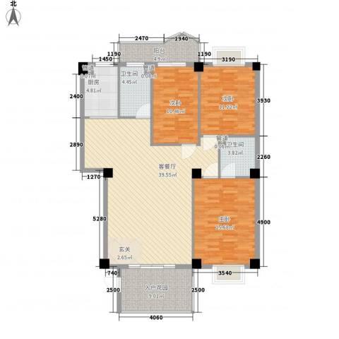 国泰大厦3室1厅2卫1厨145.00㎡户型图
