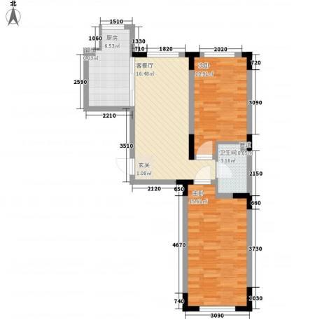 天富北苑2室1厅1卫1厨61.00㎡户型图
