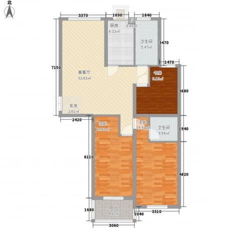 舜江碧水豪园3室1厅2卫1厨104.00㎡户型图