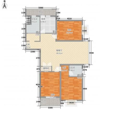 美景园3室1厅2卫1厨150.00㎡户型图