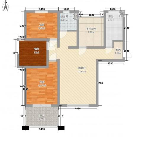 中星・外滩印象花园3室1厅1卫1厨120.00㎡户型图