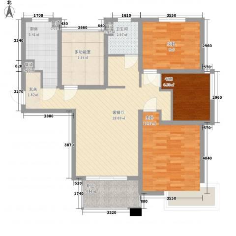 中星・外滩印象花园3室1厅1卫1厨113.00㎡户型图